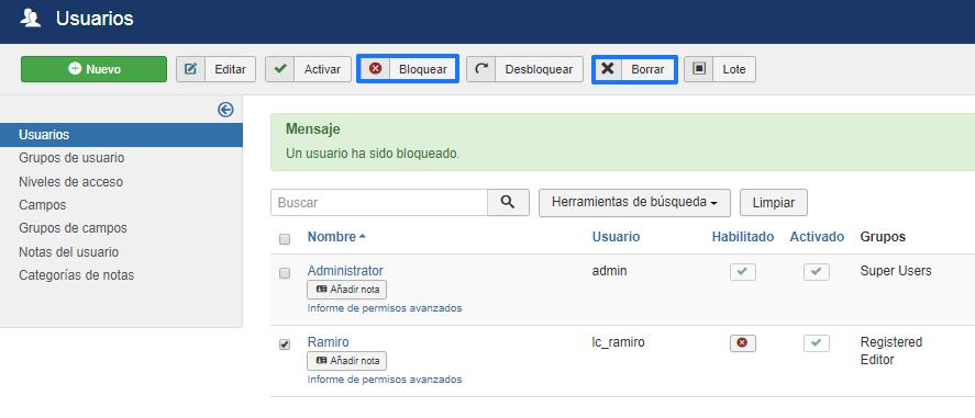 Eliminar usuarios en Joomla