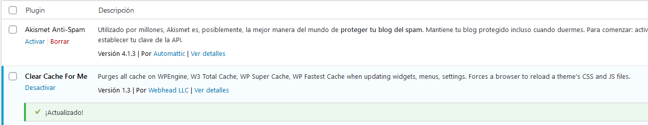 Plugin actualizado desde el backend de WordPress