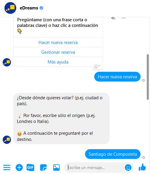 Ejemplo del bot de Facebook de eDreams