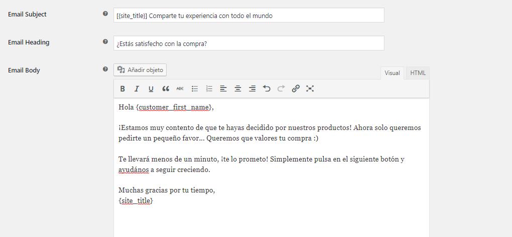 testimonios wordpress plugin customer reviews woocommerce configuracion email