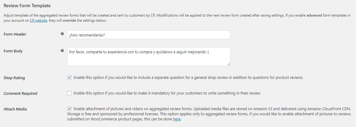 testimonios wordpress plugin customer reviews woocommerce configuracion formulario