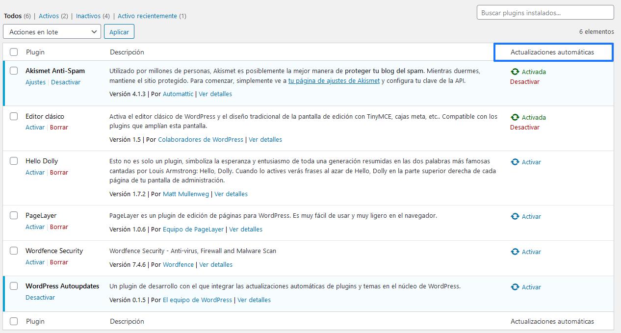 Ejemplo de cómo se mostrarán las actualizaciones automáticas en WordPress 5.5