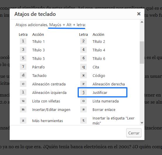 atajos del teclado justificar textos wordpress