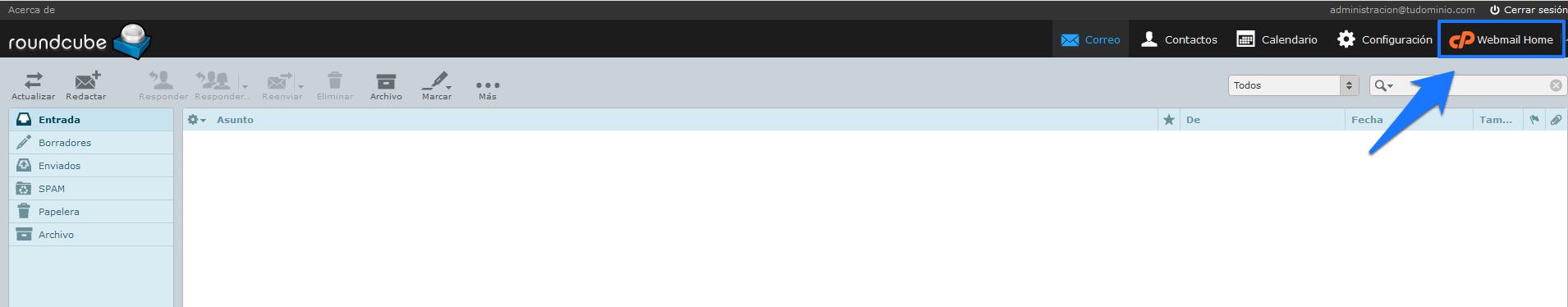 Cambiar la aplicación de webmail