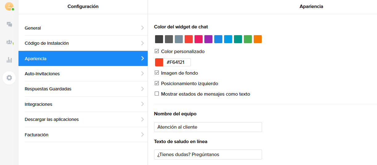 Configuración Chaport Live Chat WordPress