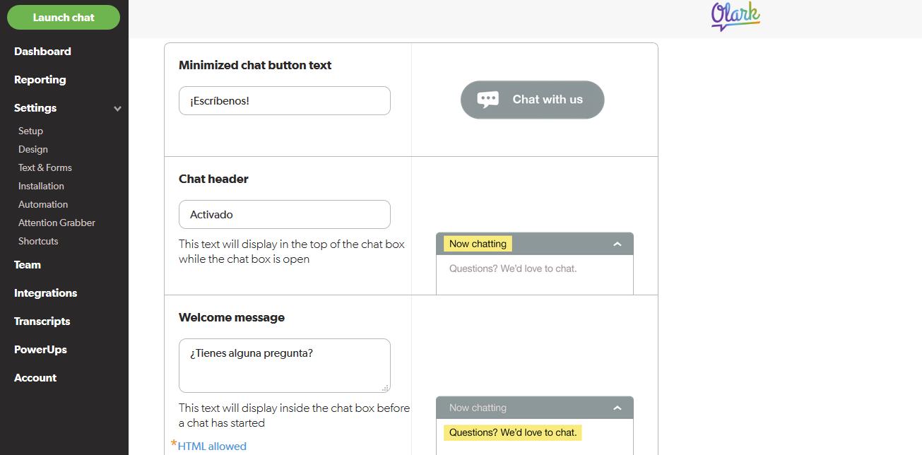 Configuración de Olark Live Chat