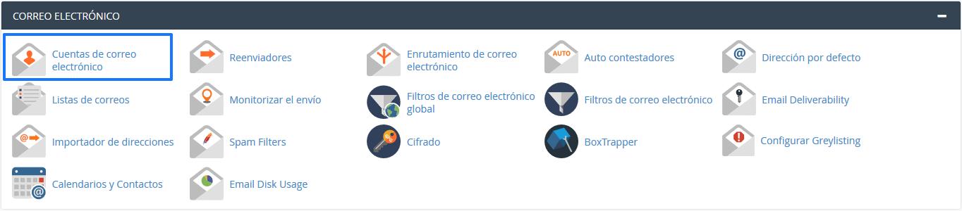 Sección de Correo electrónico en cPanel