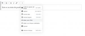 Cómo insertar código HTML en Gutenberg