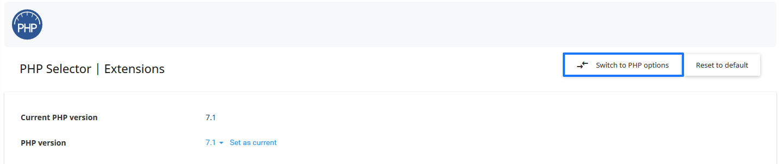 Seleccionar opciones de PHP en cPanel