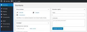 Dashboard de WordPress de un usuario con permisos de editor