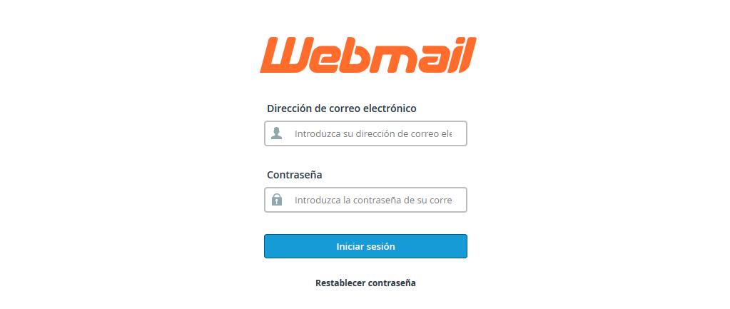Pantalla de acceso a webmail