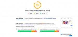 Rsultados PageSpeed Insights de Google