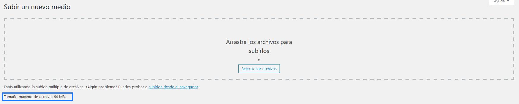 Ver tamaño máximo de archivo en WordPress