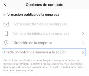 Añadir un botón de llamada a la acción de Instagram