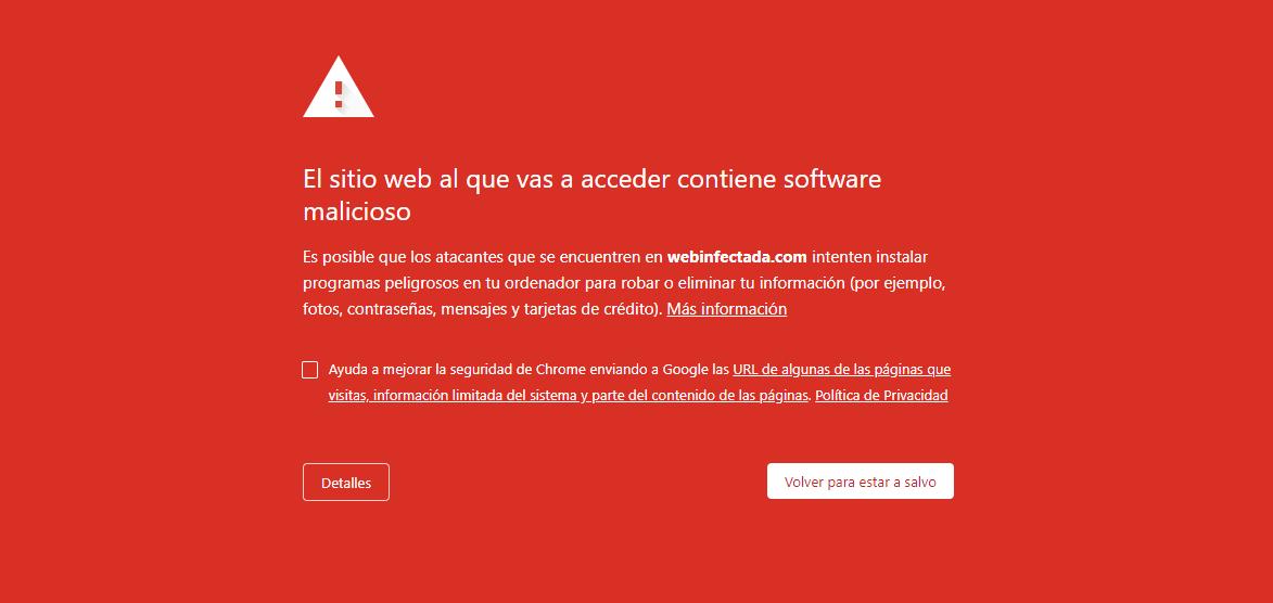 Aviso en Google: El sitio web al que vas a acceder contiene software malicioso