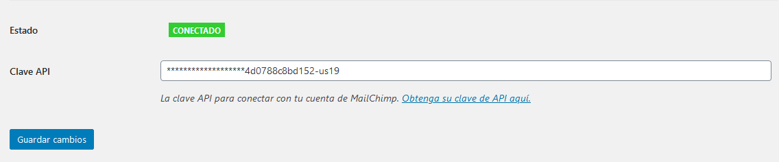 Mailchimp y WordPress integrados con la clave API