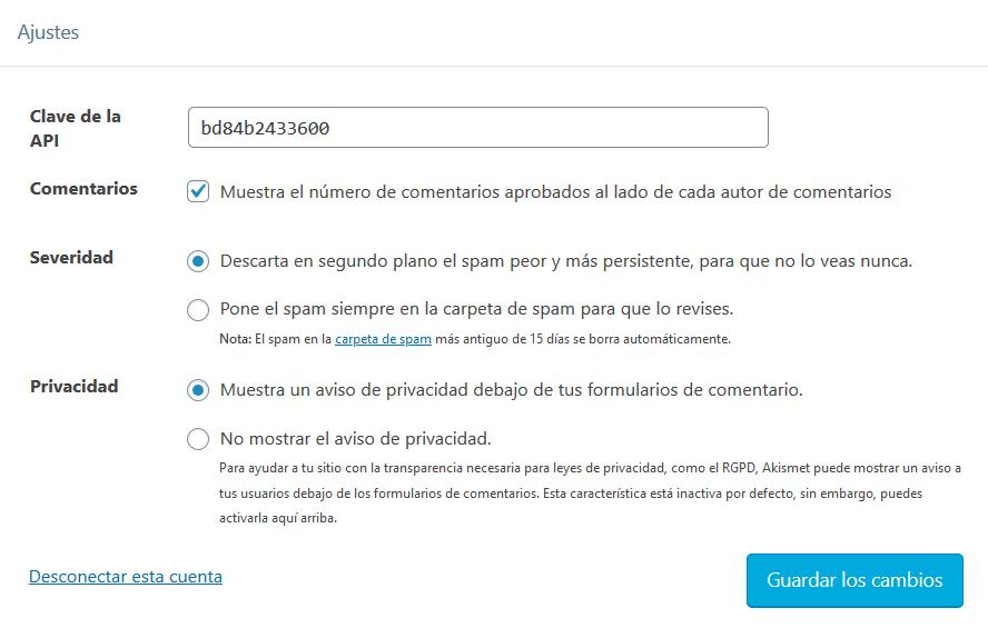 Configuración de Akismet Anti-Spam en WordPress