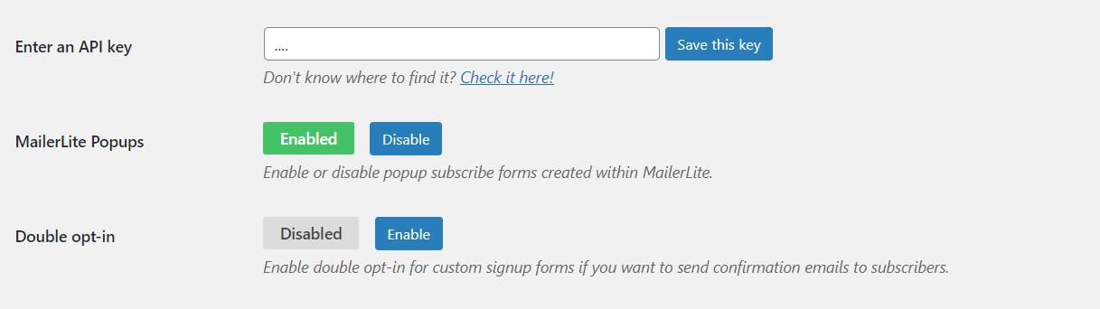 Configuración de MailerLite en WordPress