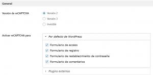 Configuración del plugin para instalar Google reCAPTCHA en WordPress