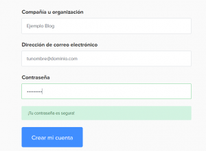 Formulario de registro en MailerLite