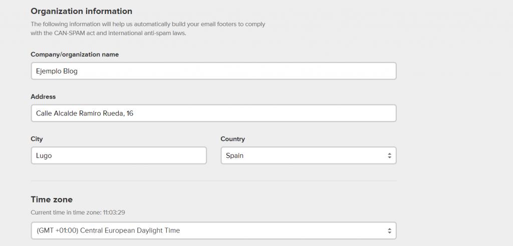 Completar la información de tu negocio en MailerLite para crear una cuenta