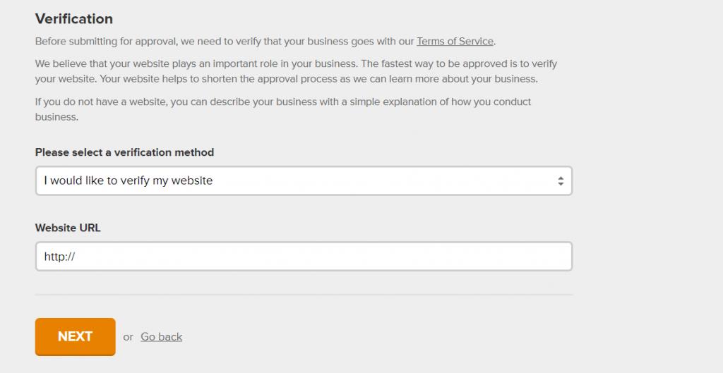 Formulario para verificar el dominio de una web en MailerLite