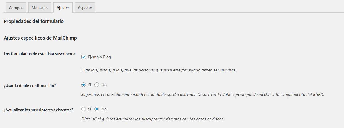 Crear un formulario de suscripción con Mailchimp for WordPress: Paso 3