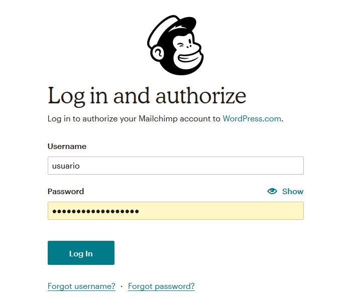 Autorizar el acceso de WordPress a Mailchimp con Jetpack