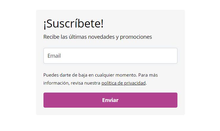 Ejemplo de un formulario de suscripción en WordPress creado con MailerLite