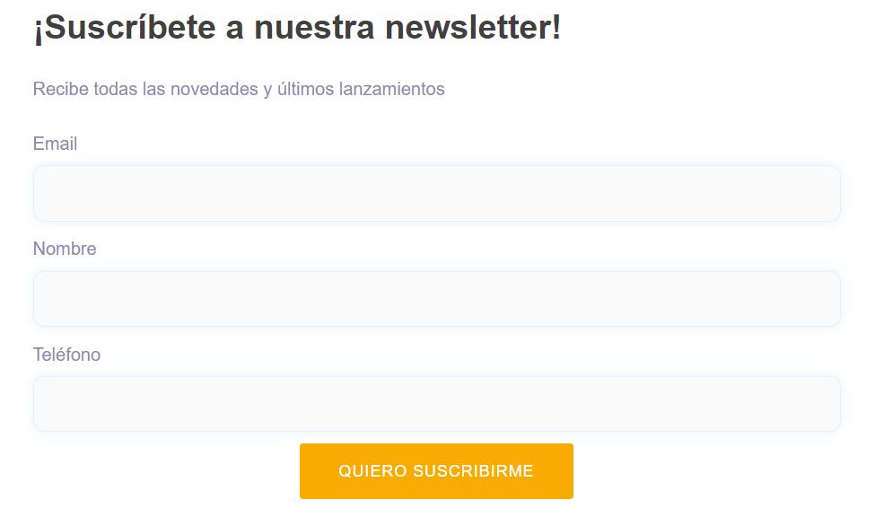 Ejemplo de un formulario de suscripción hecho con el plugin MailerLite para WordPress
