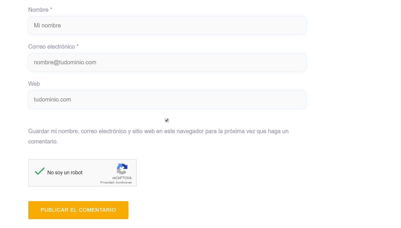 Ejemplo de Goolge reCAPTCHA en WordPress