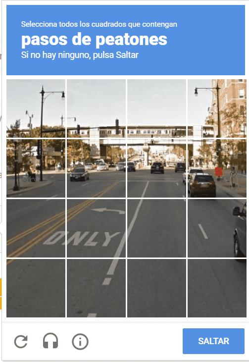 Ejemplo de reconocimiento de imágenes con Google reCAPTCHA