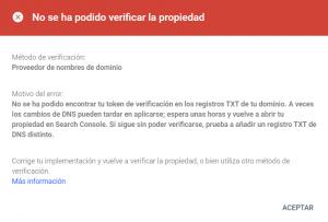 Error al verificar la propiedad del dominio en Google Search Console