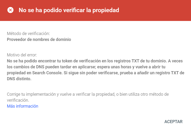 Error al verificar la propiedad del dominio en Google Search Console