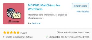 Instalar Mailchimp for WordPress