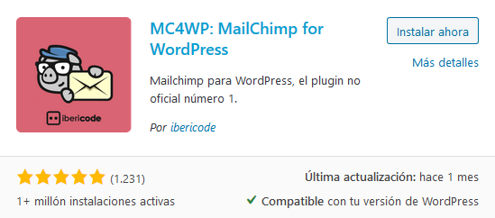 Instalar Mailchimp for WordPress