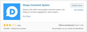 Instalar el plugin de Disqus en WordPress