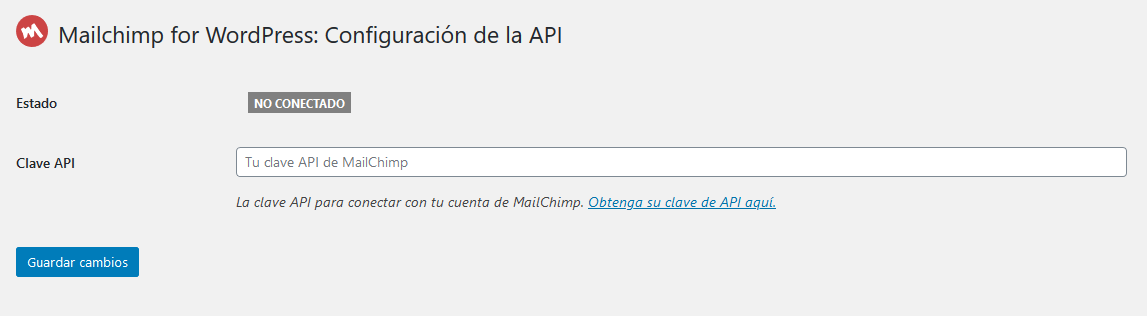 Introducir la clave API de Mailchimp en WordPress