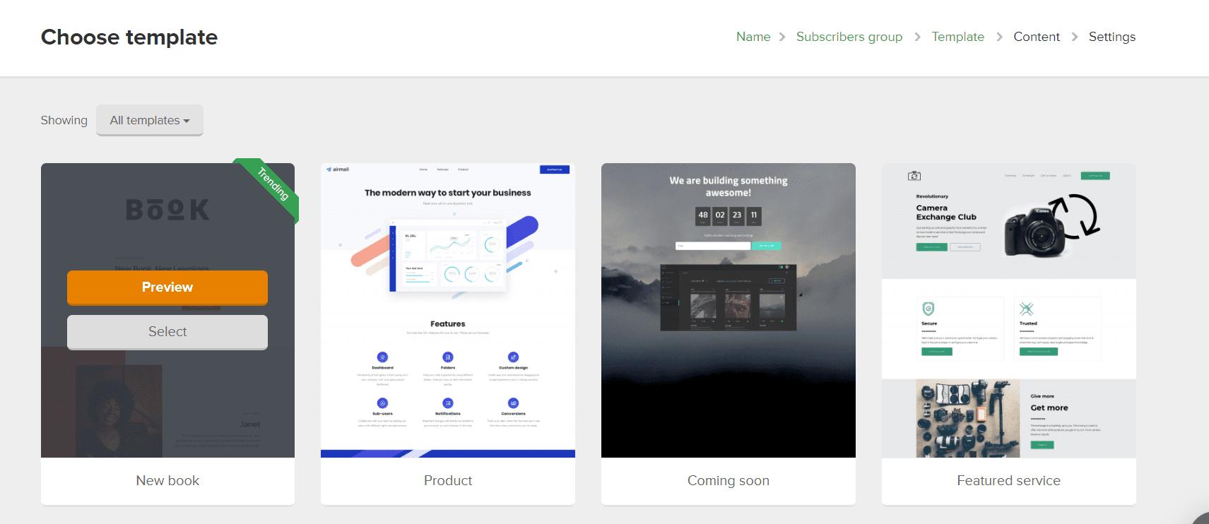 Plantillas para crear landing pages en MailerLite