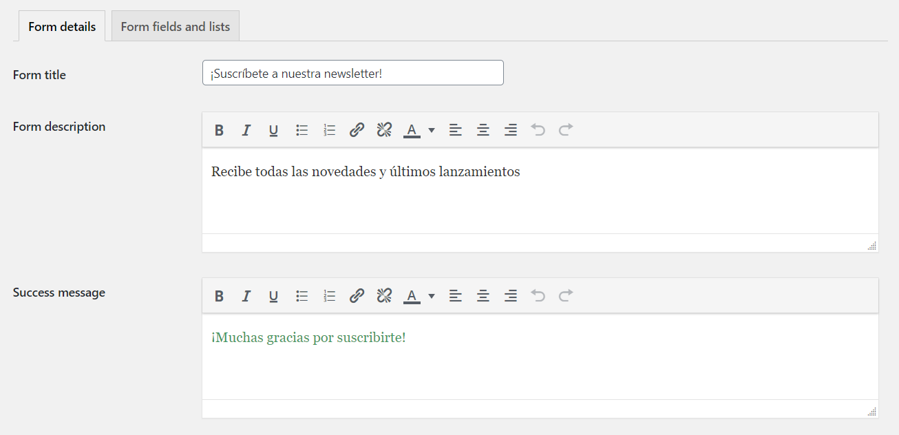 Personalizar mensajes en el plugin MailerLite para WordPress