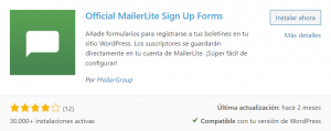 Plugin MailerLite para WordPress