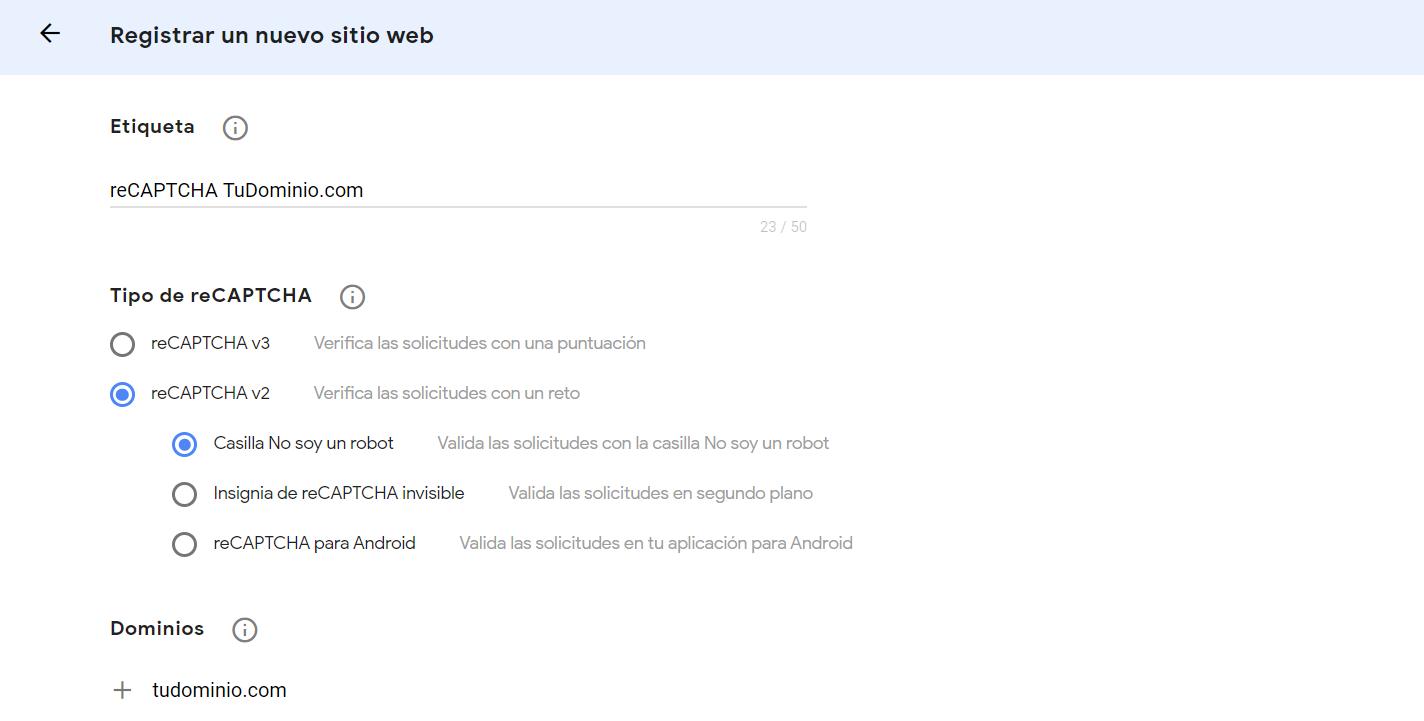 Registrar tu WordPress en Google reCAPTCHA