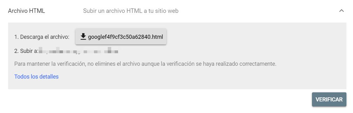 Verificar un dominio en Google Search Console subiendo un archivo HTML