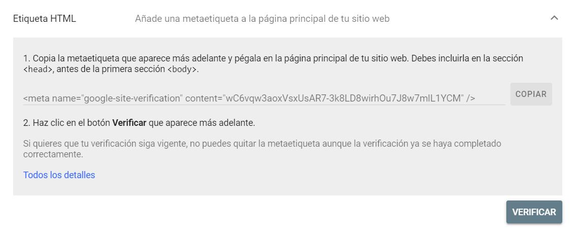 Verificar un dominio en Google Search Console mediante una etiqueta HTML