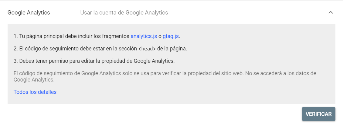 Verificar un dominio en Google Search Console mediante Google Analytics
