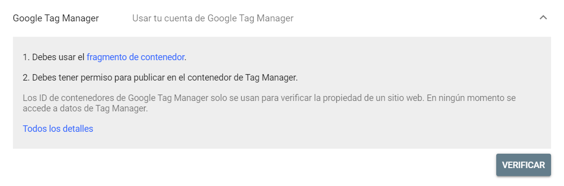 Verificar un dominio en Google Search Console mediante Tag Manager
