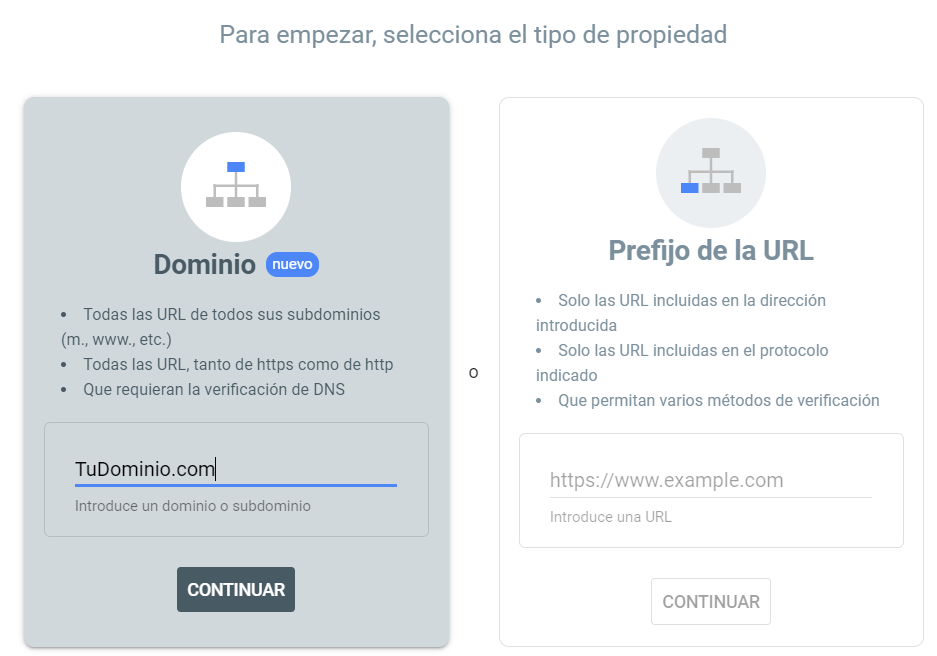 Seleccionar el tipo de verificación de un dominio en Google Search Console