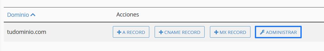 Administrar la zona DNS de un dominio en cPanel