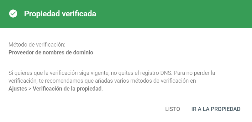 Dominio verificado en Google Search Console