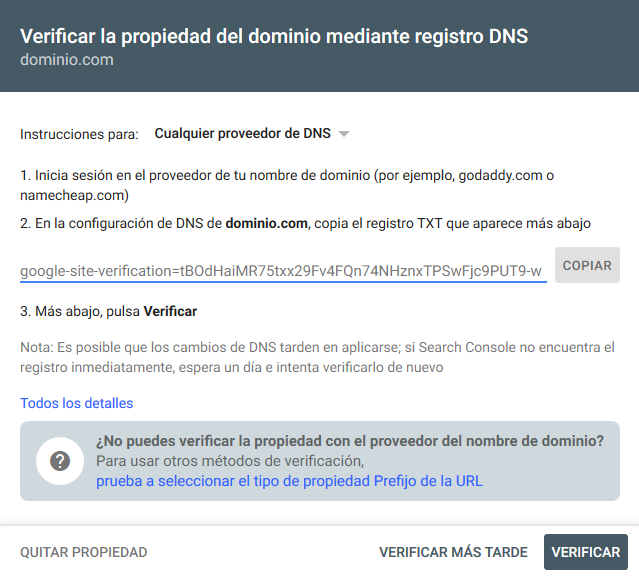 Verificar la propiedad de un dominio en Search Console